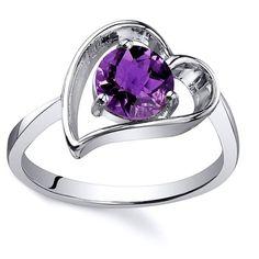 Oravo Sterling Silver Round-cut Gemstone Solitaire Ring (Amethyst Size 9), Women's, Purple