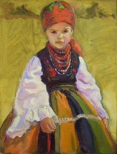 Traditional girl, oil on card,