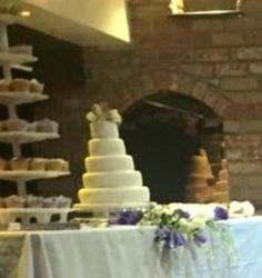 Wedding cake table at Joy and Linford's wedding