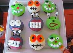 Halloween Party Alien and Monster Cupcakes