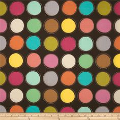 Michael Miller Paint Lids Brown from @fabricdotcom  Designed by Mark Hordyszynski for Michael Miller, this cotton print fabric is perfect for quilting, apparel and home decor accents. Colors include brown, ecru, orange, green, blue, pink and grey.
