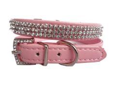 New PINK PU Leather Diamante Dog Collar Bling Rhinestone Pet Dog Cat Collar