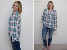 Avena Split Neck Blouse Aiden Skinny Jean Exactly what I would wear running errands... plus a scarf and flats