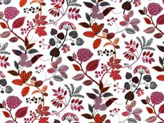 Decoratie stof, Ingarö rood - Decoratiestoffen met bloemen - voordelig kopen in de online shop / stoffenwinkel