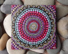 "Tablero, pintura acrílica, boho arte de la lona del boho Sunset diseño, pintura aborigen australiana de punto, Biripi artista Raechel Saunders, 4 ""x 4"""