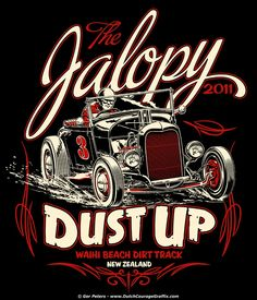 """Jalopy Dust Up T-shirt design - Waihi Beach Dirt Track New Zealand Vintage Signs, Vintage Posters, Rockabilly Artwork, Retro, Pinstriping Designs, Diorama, Garage Art, Car Drawings, Automotive Art"