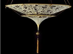 Silk pendant lamp SCHEHERAZADE 2 TIERS - Fortuny® by Venetia Studium