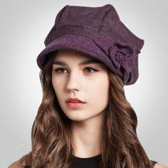 Women flower beret hat for winter fashion warm wool hats