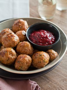 Herbed Turkey meatballs and cranberry BBQ sauce ~   sounds yummy