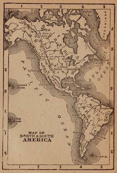 Rare North America Map  South AMERICA Map Antique by plaindealing