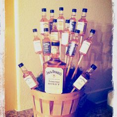 A whiskey bouquet for my dads birthday! Look, I'm crafty!!