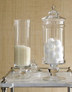 Girl Spa Party Ideas - Turn any jar into decor!  Cotton balls, q-tips, bath salts, such easy DIY decor.