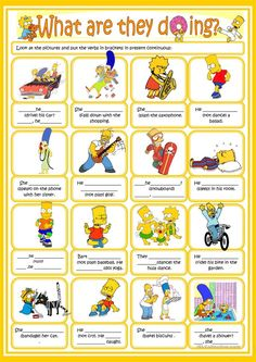 Present continuous with the Simpsons