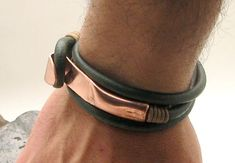 FREE SHIPPING. Men's leather bracelet. Green leather wrap men's bracelet with hammered copper work clasp on Etsy, $33.00