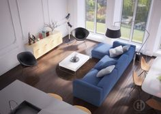 8 Creative Living Room Design That Would Be Nice Welcoming Guest Room Design, Living Room Paint, Blue Sofas Living Room, Living Room Design Inspiration, Wallpaper Living Room, Contemporary Living Room Design, Room Decor, Creative Living, Living Room Designs