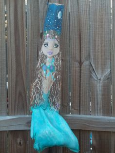 Palm Frond Bark Painting  Magical Mermaid by Midnite Creations by M. $66.00, via Etsy.