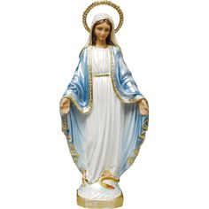 OUR LADY OF GRACE - Pearlized finish with removable rhinestone halo.This classic image of our Blessed Mother Mary has been a best-seller here for years, and we're confident you'll love her too. Holy Quotes, Immaculate Conception, Blessed Mother Mary, Hair Toppers, Catholic Gifts, White Gowns, Classic Image, Patron Saints, Our Lady