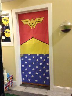 Wonder Woman Door Door decoration I made for a superhero themed classroom.