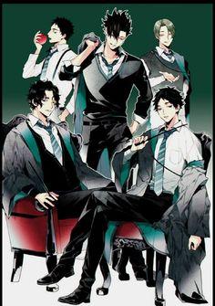Haikyuu x Harry Potter (House Slytherine) Iwaizumi Hajime, Kuroo Tetsurou, Akaashi Keiji, Haikyuu Karasuno, Kagehina, Manga Haikyuu, Haikyuu Funny, Haikyuu Fanart, Comic Anime