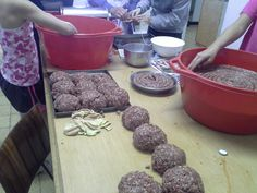 Back at the farm: mince rolled to be processed.