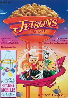All about Jetsons Cereal from Ralston - pictures and information including commercials and cereal boxes if available. You can vote for Jetsons or leave a comment. Cereal Recipes, Raw Food Recipes, Kids Cereal, Cereal Boxes, Vintage Ads, Vintage Posters, Types Of Cereal, Old Advertisements, Advertising