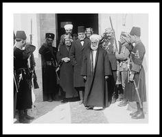 HM King Hussein bin Ali, King of Hejaz & Sharif of Mecca  ( note Emir Abdullah in background, later King Abdullah of Jordan ) - circa early 1920's