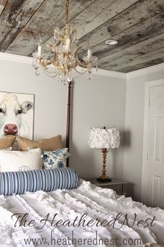 """""""Shedding Light"""" on an Easy-ish DIY - Fabric Flower Lampshade Barn Board Projects, Craft Projects, Craft Ideas, Home Ceiling, Plank Ceiling, Ceiling Chandelier, Chandeliers, Flower Lampshade, Diy Lampshade"""