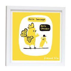Lámina enmarcada Hello Chicken Yellow de Simone Lia, 23x23cm