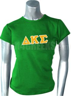 Green Delta Kappa Sigma t-shirt with the Greek letters across the chest.