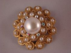 Bridal Brooch, Pearls and AB crystals, Stamped Sarah Coventry, Perfect for your special day on Etsy, $16.00