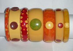 Vintage bakelite dot bracelets