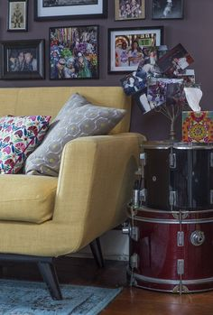 Drums as a side table, pretty cool, but maybe not if you're planning on using them again for drumming.  Kerry's Fun French Quarter Apartment
