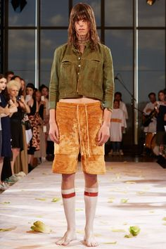 """S/S 2015 @ ECKHAUS LATTAI am mainly interested in the styling of this look, his scruffy bed hair, shoeless feet and overall """"hairy look"""" is something I would love to explore in my embroidery."""