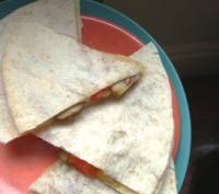 Vegetarian quesadillas filled with mushrooms and bell peppers