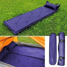 Camping Sleeping Pad - Air inflatable Self-Inflating Camping Mat Pillow Sleeping Pad Mattress Bed Blue #CampingSleepingPad