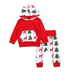 83ed642ac Christmas Baby Clothing Outfits Infant Boy Girls Baby Hooded Romper  Jumpsuit +Deer Pants Clothes Xmas Set