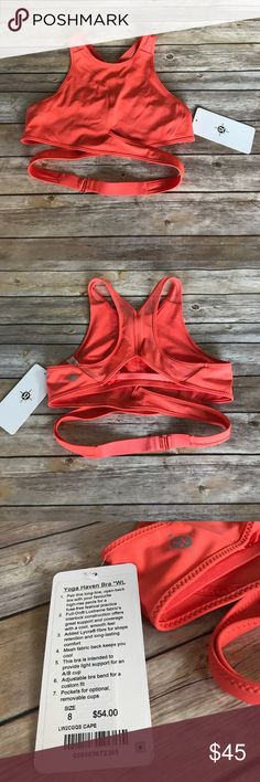 Lulu Yoga Haven Bra Coral lululemon yoga haven bra, new with tags. Never been worn. Mesh back with wrap around strap that clasps in the back. This is from the limited edition line they released once last year. lululemon athletica Other