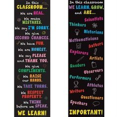 In This Classroom Banners Set: Display these two chalkboard-style banners to inspire a cooperative atmosphere for active learning-and add a bright splash of color to your walls, too! Classroom Banner, Classroom Tools, Music Classroom, Classroom Themes, Classroom Organization, Classroom Management, Middle School Classroom, School Bulletin Boards, Future Classroom