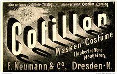 Original-Werbung/ Anzeige 1897 - COTILLON / MASKEN - KOSTÜME / NEUMANN - DRESDEN - ca. 80 x 50 mm