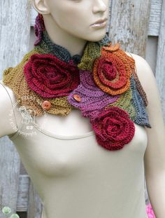 Crochet Scarf Unique Capelet Roses Crochet button scarf Schadows green orange brown blue Woman's Shawl Cape Neck Warmer Freeform crochet