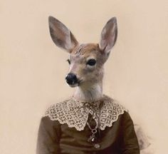 Audrey - Vintage Deer 5x7 Print - Anthropomorphic - Altered Photo - Gift Idea - Baby Animal - Whimsical Art - Photo Collage Art - Fantasy