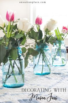 Use these farmhouse inspired Valentine's Day tablescape ideas to celebrate the day with family or friends. Easy & inexpensive ideas to use year-round. # DIY Home Decor inexpensive Farmhouse Inspired Valentine's Day Tablescape Ideas Inexpensive Home Decor, Cheap Home Decor, Diy Home Decor, Room Decor, Vintage Mason Jars, Blue Mason Jars, Trendy Baby, Brunch Decor, Brunch Ideas