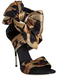 ShopStyle: Giuseppe Zanotti leopard print satin bow detail heeled sandals