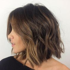 Shaggy brunette bob with face framing balayage- bob hairstyles bobs for thick hair, long Shaggy Bob Hairstyles, Cool Hairstyles, Bob Haircuts, Bob Hairstyles Brunette, Bob Hairstyles How To Style, Hairstyles 2018, Brunette Bob Haircut, Wedding Hairstyles, Trendy Haircuts