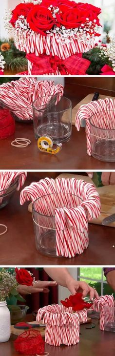 What a great idea! We love this idea for a spirited flower arrangement - just add some candy canes and you've got holiday flair!