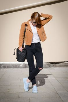 Tan suede fringe leather jacket + adidas Supercolor 'Clear Sky' Superstar sneakers  Spring Look   WHAT PIXIES WEAR – Fashion Blog