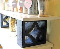 Quick desk shelf... paint decorative blocks!