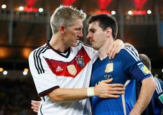 Bastian Schweinsteiger of Germany hugs Lionel Messi of Argentina after Germany's victory in extra time during the 2014 FIFA World Cup Brazil Final match between Germany and Argentina at Maracana on July 2014 in Rio de Janeiro, Brazil Lionel Messi, Messi And Neymar, Germany Vs Argentina, Argentina World Cup, Fifa 2014 World Cup, Brazil World Cup, Bastian Schweinsteiger, Germany Team, World Cup Teams