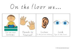 On The Floor. A poster that gives four clear steps to what sitting on the floor looks like. Especially appropriate for children with Autism. FREE Download.