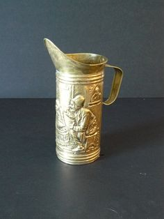 Vintage Hammered  Brass Pitcher 1920 by Saltofmotherearth on Etsy, $12.99